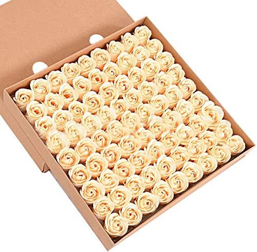 iSpchen Butterme Juego de 81 jabones de baño aromáticos, Fabricados a Mano, Aroma a Rosas, diseño de capullos con pétalos, envío en Caja de Regalo, para Boda, Champ¨¢n