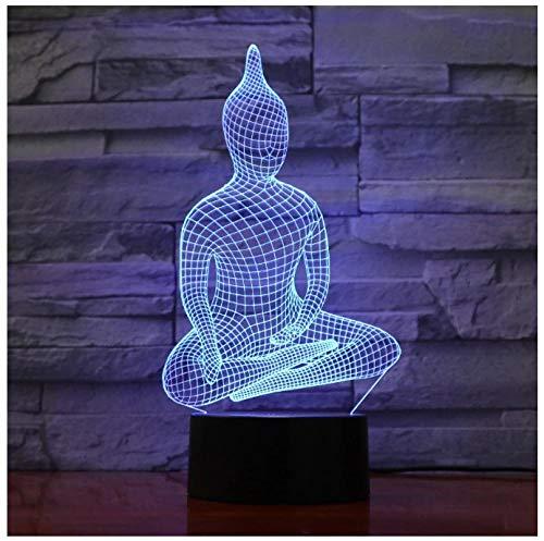 Buda sentado yoga-Luz de noche 3D LED lámpara de ilusión Luz de Noche para Niños 7 Colores Lámpara de Escritorio Cable USB Valentín Navidad Halloween Regalos-Touch+Remote