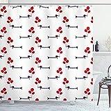 Ambesonne - Cortina de ducha con diseño de perro salchicha con globos en ropa de inspiración parisina, juego de decoración de baño de tela con ganchos, 70' de largo, bermellón gris carbón y blanco