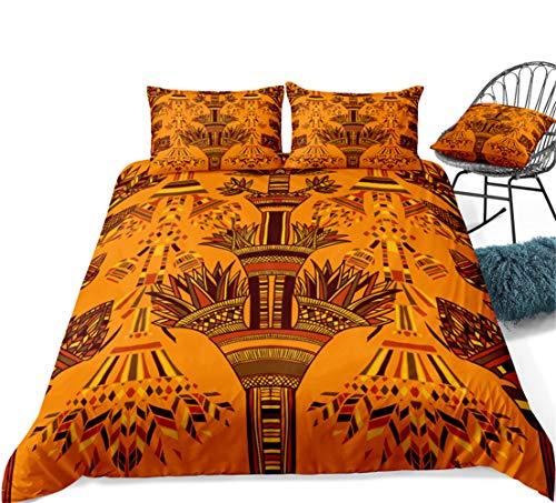 ZYLH Juego de ropa de cama de microfibra, diseño étnico personalizado (algodón puro), funda nórdica suave y cómoda (135 x 200 cm) y 2 fundas de almohada de 80 x 80 cm (ancho 220 x 240 cm)