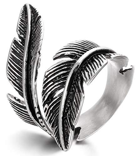 Fibo Steel - Anillos de acero inoxidable para hombres y mujeres, diseño vintage de una pluma, tamaño 7-13