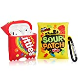 BKKYO Case for AirPod 2nd/1st, Kids Candy+Rainbow Candy Air Pods Cover Cute Fashion Cartoon Design Funny Fun Kawaii Keychain, Unique Cool 3D Food for AirPods 2&1 Cases Kids Girls Women (2 Packs)