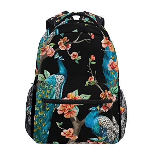 poiuytrew Peacocks in Tree Backpack Students Shoulder Bags Travel Bag College School Backpacks