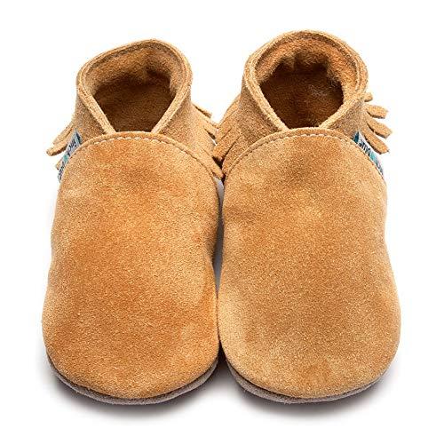 Inch Blue , Chaussures Souple pour bébé (garçon) Marron Marron - Marron - Marron, S 0-6 Mois, avec Blanc Boite Cadeau