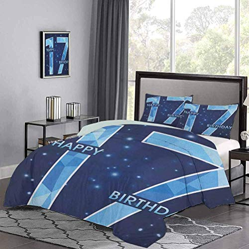 Bedding Sets Space Stage Theme Image with Star Like Dots Seventeen Youth Theme Print Duvet Cover Gives You a Good Sleep Sky Blue and Navy Blue