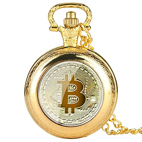JTWMY bit Coin Image Reloj de Bolsillo de Cuarzo Hombres Collar Casual Fob Relojes Reloj Regalos Relojes-Oro