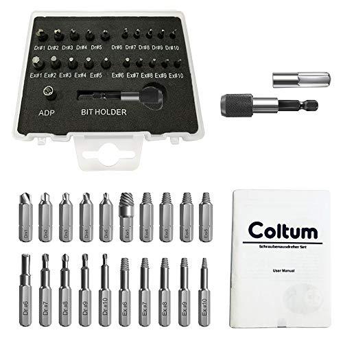 Coltum 22PCS Schraubenausdreher Set, Beschädigte Schraubenentferner Set, Separate Bohr- und Extraktionseinsätze, aus Schnellarbeitsstahl, für beschädigte Schrauben 1-12mm, Härte 64-65HRC