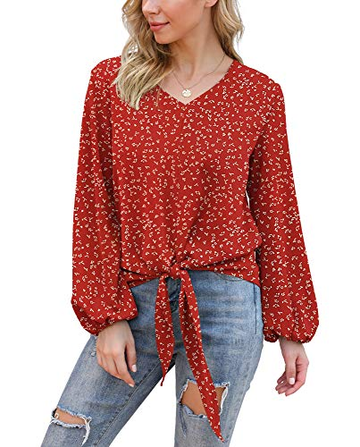 VIISHOW Womens Tie Front Balloon Sleeve Loose Fit V Neck Floral Blouses Chiffon Tops Shirts, Floral red, Medium