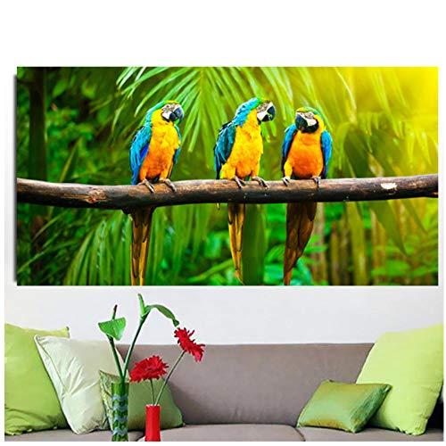 Moderne papegaai print zwarte kuif papegaai canvas muur vogel poster woonkamer woondecoratie frame 50x100 cm (frameloze)