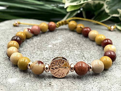Armband Mookait Lebensbaum Makramee, Hämatit Lebensbaum, Geschenk für Freundin
