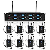 Pyle Professional 8 Channel UHF Wireless Microphone & Receiver System 8 Belt Pack Transmitters 8 Headsets & 8 Lavalier Lapel Mics RF & AF Radio/Audio Frequency Digital Display (PDWM8275) Black