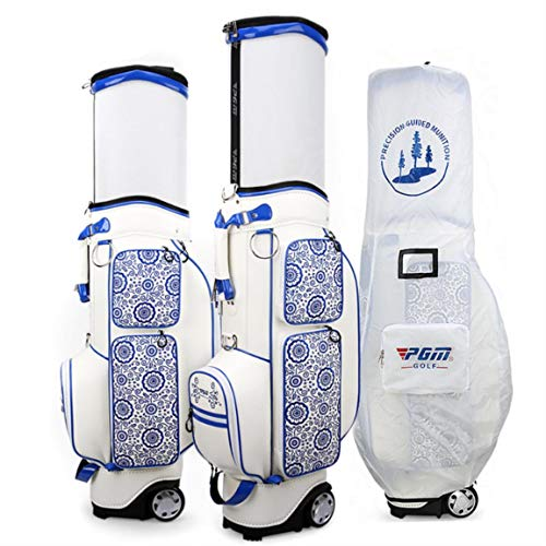 Review Leaysoo Golf Bag Nylon Telescopic Waterproof Portable Golf Travel Bag with Wheels(1 Pc)