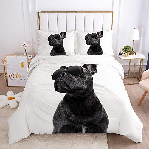FDONTR 3D Haustiere Katze und Hund Bettbezug Set Bettwäsche-Sets Betttasche Quilt Covers Kissenbezug King Single Double Size Bettwäsche-10 King (240x220cm)