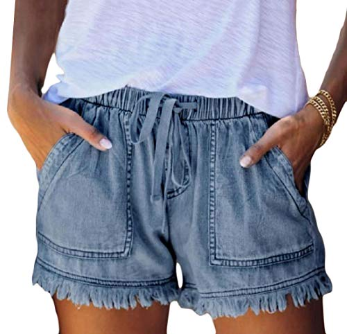 Womens Elastic Waist Drawstring Belt Solid Color Comfy Shorts with Pockets 1 S