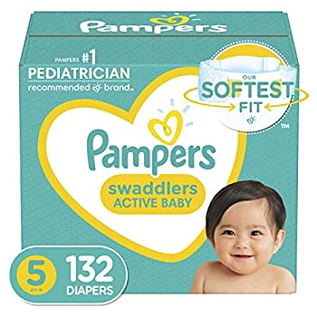 Baby Diapers Size 5 132 Count - Pampers Swaddlers ONE MONTH SUPPLY  Packaging and Prints on Diapers May Vary