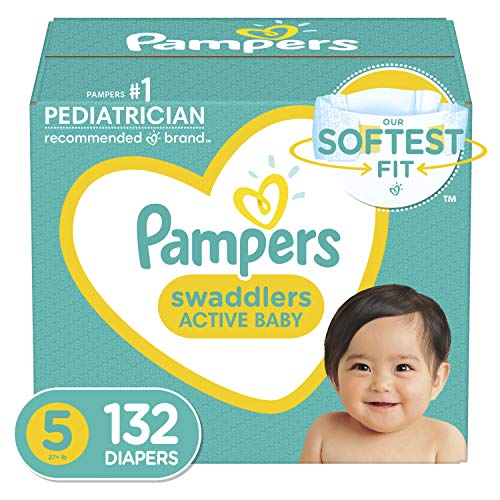 Baby Diapers Size 5, 132 Count - Pampers Swaddlers, ONE MONTH SUPPLY (Packaging and Prints on Diapers May Vary)