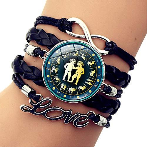 SLVVL Twaalf sterrenbeelden Gemini tijd edelsteen armband LOVE letters multi-layer geweven armband sieraden