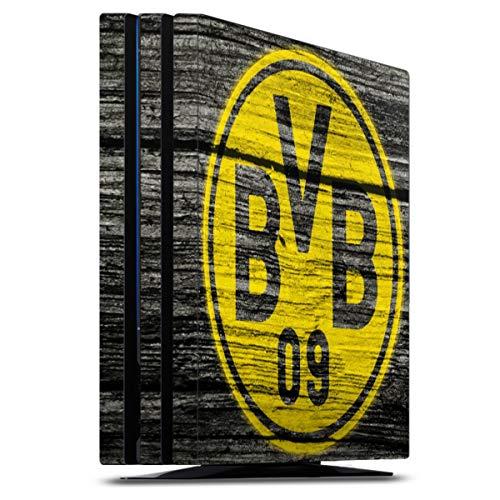 DeinDesign Skin kompatibel mit Sony Playstation 4 PS4 Pro Folie Sticker Borussia Dortmund BVB Holzoptik