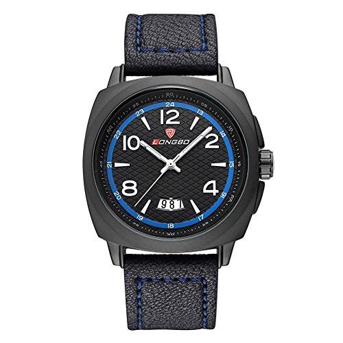 iWatch Herren-Armbanduhr Sport Uhr Analog Quarz 3ATM wasserdicht LED Licht Datum Leder Schwarz Blau