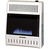 ProCom MNSD200TBA-BB Dual Fuel Ventless Blue Flame Space Gas Heater With Blower and Base, 20,000 BTU, White