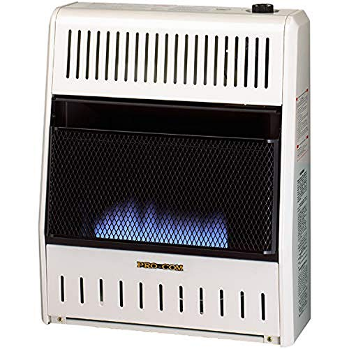 ProCom MNSD200TBA-BB Dual Fuel Ventless Blue Flame Space Gas Heater With Blower and Base, 20,000 BTU, Black