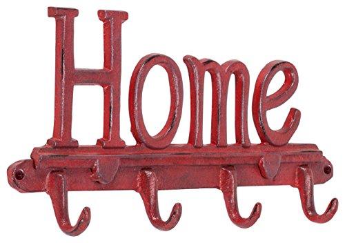Abbott colección de hierro fundido gancho de pared 'Home cuádruple, diseño vintage, color rojo
