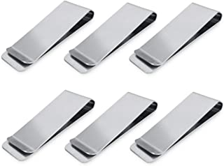 Stainless Steel Money Clips, Money & Cards Holder, Minimalism Wallet, Super Slim and Durable - Silver, 6 PCS