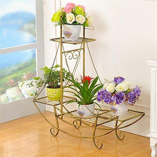 BOBE SHOP- Plancher en fleur de fer Style de plancher Ensemble de pot de fleurs Modèles de mode européens Salon Balcon intérieur et extérieur Ensemble de fleurs à plusieurs étages ( Couleur : Bronze vert , taille : 76*24*74cm )