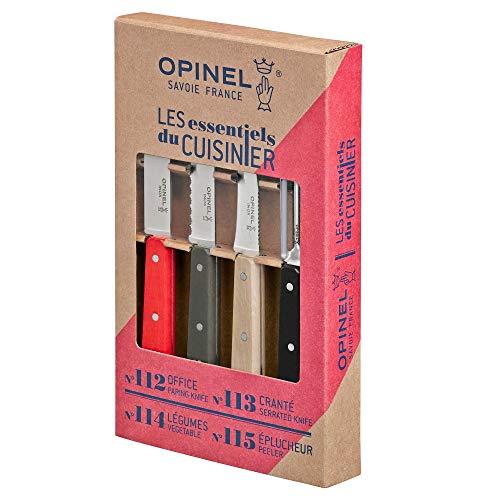 OPINEL - Coffret Les Essentiels Loft - Coffret OPINEL Cuisine Couteau d'Office, Couteau Cranté, Couteau à Légumes, Couteau Eplucheur - Inox & Charme - Rouge, Gris, Naturel, Noir