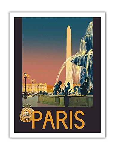 Paris - Place de La Concorde Fontaine - Chemins de fer de Paris-Lyon-Méditerranée (PLM) - Affiche voyage de Julien Lacaze c.1930 - Impression d'Art 51 x 66 cm