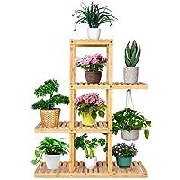 amzdeal supporto per piante in bambù, scaffale piante, espositore per piante a 4 livelli, espositore per fioriera alto e basso per giardino patio, balcone, soggiorno, interno ed esterno