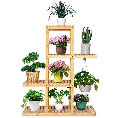 amzdeal Blumenständer Pflanzenregal Holz aus Bambus 4 Ebenen 80×29×98cm (L*B*H) Indoor Outdoor Blumenregal Garten Pflanzentreppe mehrstöckig