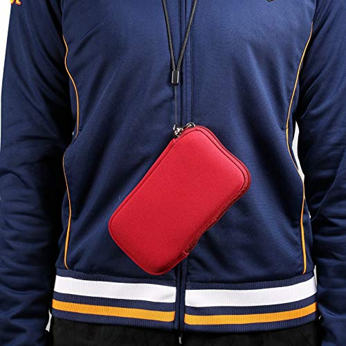 SZCINSEN Funda de neopreno para teléfono móvil, funda universal de 5,4 pulgadas con cremallera para iPhone 12 Mini, SE 2020, 11 Pro, XS, X, 8,6, (correa para el cuello) (color rojo)
