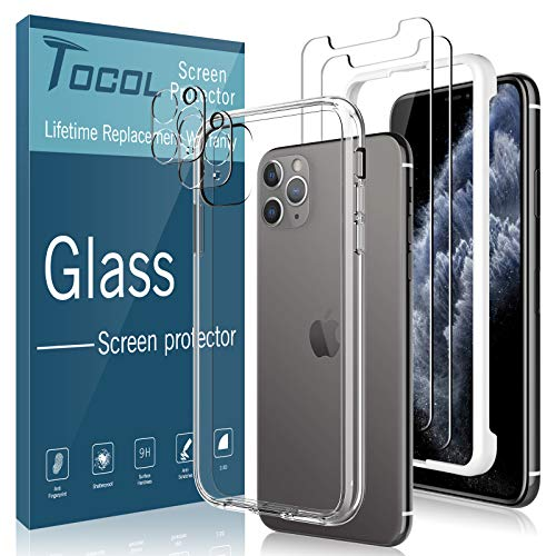 [Total 5Pack] TOCOL for iPhone 11 Pro Screen Protector [2Pack] + Camera Lens Protector [2Pack] + Acrylic Case [1Pack] Tempered Glass HD Clear [Shock Absorption] Case Friendly