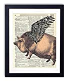 Flying Pig Upcycled Vintage Dictionary Art Print 8x10