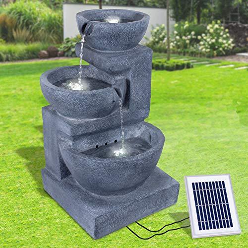 Gartenbrunnen Solarbrunnen Brunnen Vogelbad Wasserfall, Gartendeko mit Pumpe, Wasserspiel für Garten Terrasse, Balkon, Sehr Dekorativ, Led-Licht-Gartenleuchte