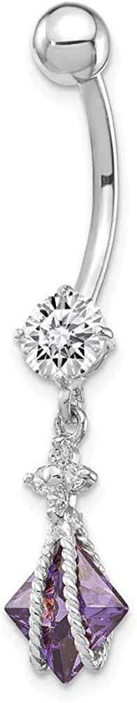 10k White Gold Square Amethyst Belly Cubic Zirconia Dangle 2021 new National products