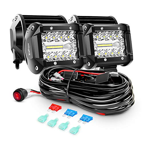 Nilight - ZH416 4PCS 4Inch 60W Triple Row Flood Spot Combo 6000LM LED Pods Light Bar Driving Boat Led Off Road Lights with 16AWG Wiring Harness-4 Leads