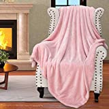 Catalonia Pink Sherpa Throws Blanket for Girls, Super Soft Comfy Fuzzy Micro Plush Fleece Snuggle Blanket for Sofa Couch TV Bed Reversible Match Color All Season 50'x60'