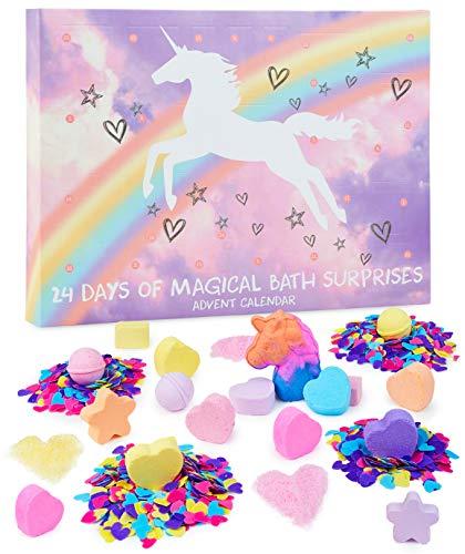 KreativeKraft Calendario Avvento 2021 con Le Bombe da Bagno Unicorno per Bambina, Calendario dell Avvento con 24 Saponette Profumate da Scoprire, Idea Regalo Natale per Bambini