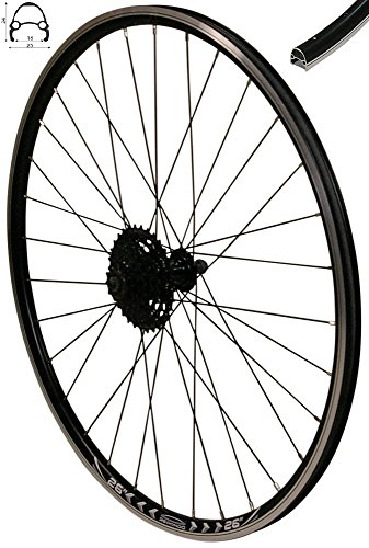 Redondo 26 Zoll Hinterrad Laufrad V-Profil Felge Schwarz 8-Fach Shimano Kassette