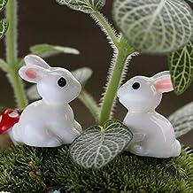 4Pcs Rabbits DIY Miniature Figurine Garden Dollhouse Decor Micro Landscape Plastic Craft Decoration Bonsai Succulent Cake ...