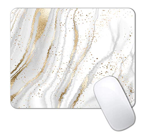 IMAYONDIA Mouse Pad, Abstract White Gold Marble Mouse Pad, Modern Marbling Mousepad, Custom Small Mouse Pads with Designs, Portable Office Non-Slip Rubber Base Wireless Mouse Pad for Laptop