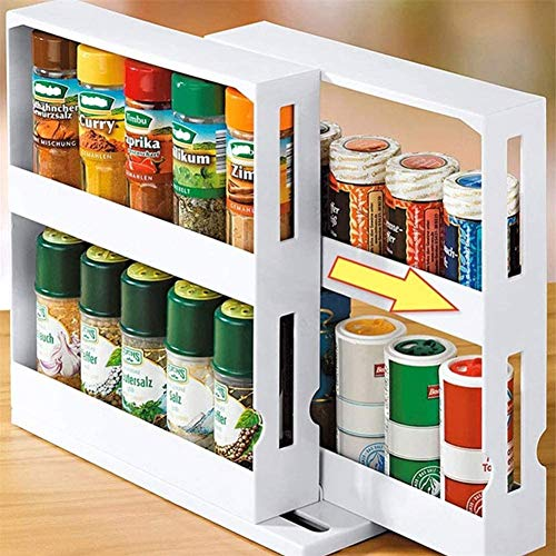 Depruies Seasoning Storage Holder, Multi-Function Storage Rack Pull Out Kitchen Storage,Multi-Function Storage Rack,2-Tier Kitchen Countertop for Spice Jar, Can, Bottle and more I Up To 20 Spice Jars