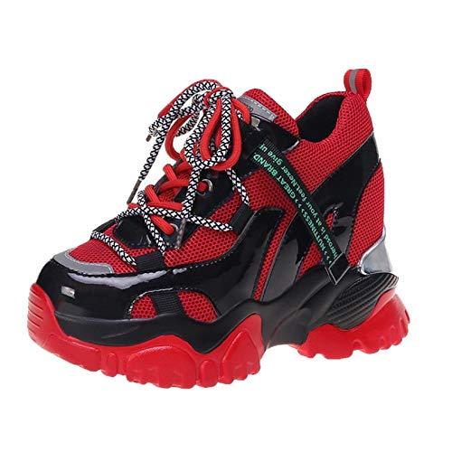 Zapatillas de Plataforma para Mujer Zapatos Deportivos Informales con Cordones de Malla y Transpirables Zapatillas cómodas para Caminar con tacón Oculto con cuña para Mujer