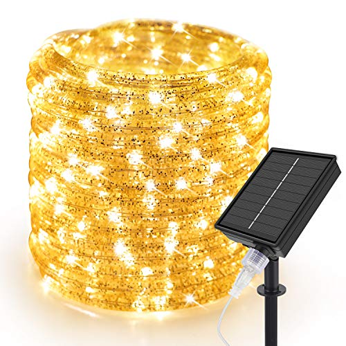 10 m Solar Powered Rope Fairy Lights, Speclux Outdoor Solar Rope Fairy Lights, Waterproof, 200 LEDs, Copper Wire, Decorative Tube Light for Garden Patio, Wedding Party, Christmas Tree (Warm White)
