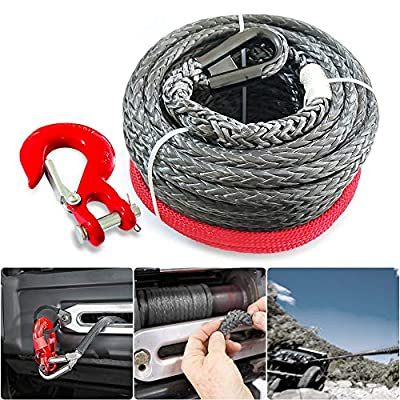 """RUGCEL 3/8"""" x 80' 23805LBs Synthetic Winch Line Cable Rope with Black Protecing Sleeve for ATV UTV"""