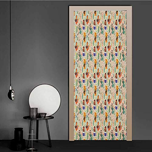 Homesonne Door Decals Jungle Band with Instrument Playing Animals Lion Bear and Hare with Leaves Backdrop Reusable Wallpaper Cover Up The Bland White Refrigerator Multicolor 98x200 CM