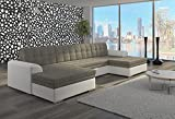 Bestmobilier - VENTO - Canapé d angle panoramique convertible - 365x165x80cm Couleur - Blanc / Gris