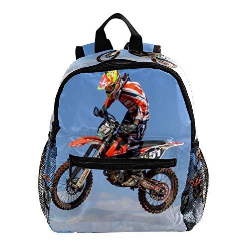 Schulranzen Moto-Cross Kinderrucksack Babytasche Mini Rucksack für 3-8 Jährige Jungen und Mädchen im Kindergarten 25.4x10x30CM